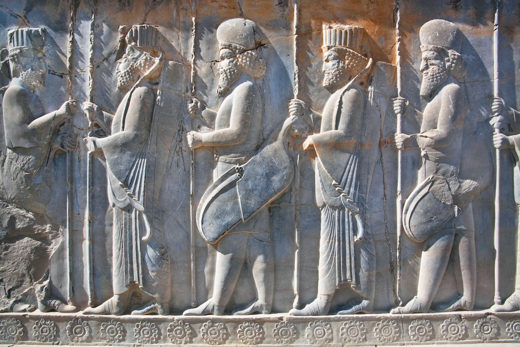 Iran Tours - NZ Travel and Tour - Soldiers of historical empire in ancient city Persepolis, Iran